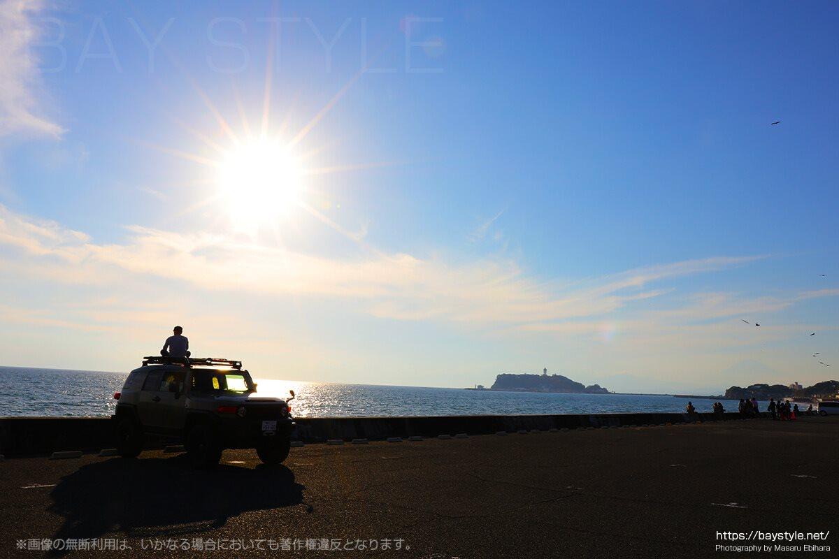 七里ヶ浜駐車場の午後