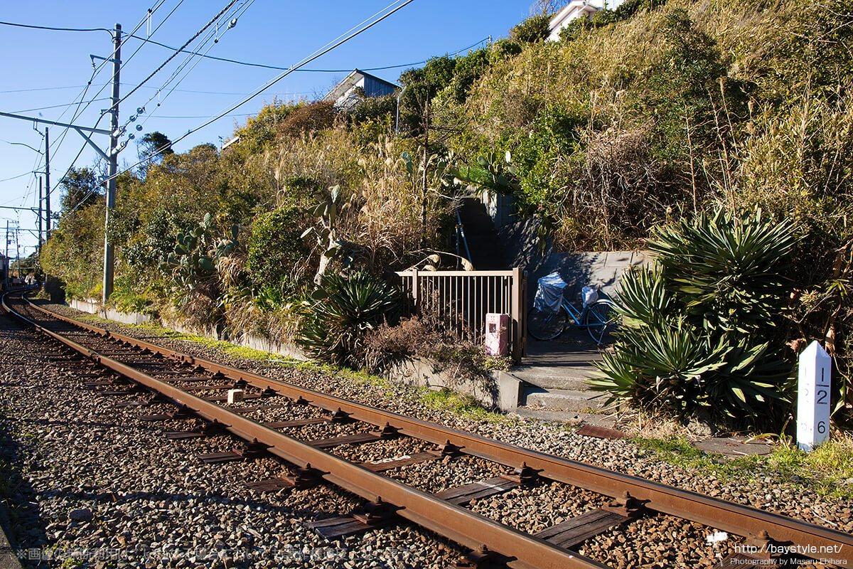 線路をまたぐ民家の入り口