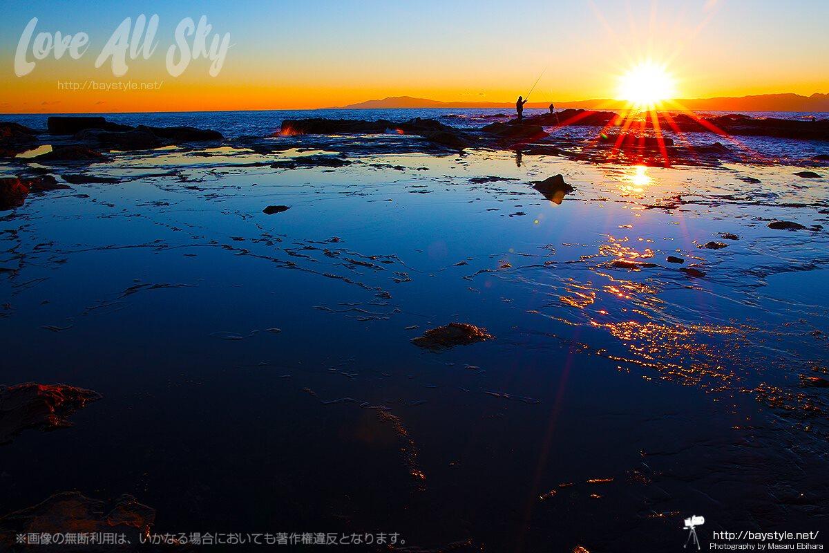 鳥江ノ島からの夕日