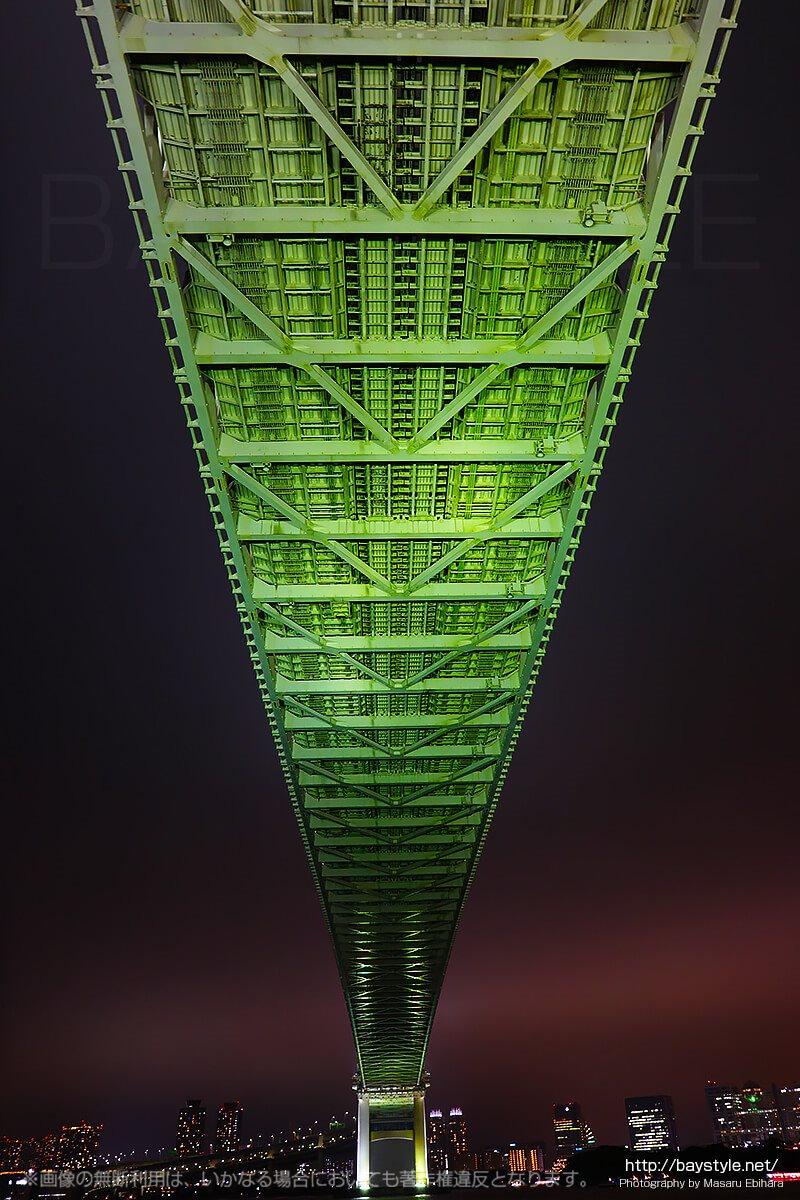 港区立芝浦南ふ頭公園運動広場で撮影したレインボーブリッジ(夜景バージョン)
