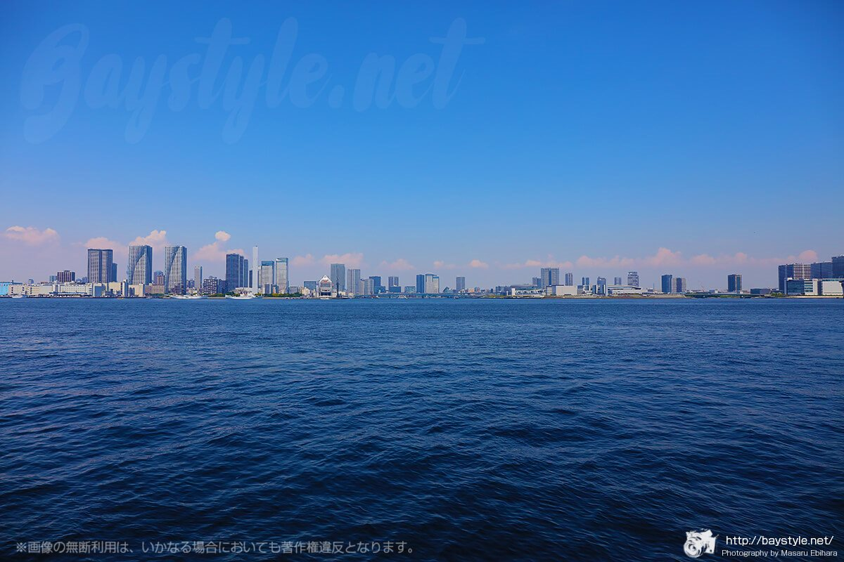 港区立芝浦南ふ頭公園運動広場で撮影した東京の街並み