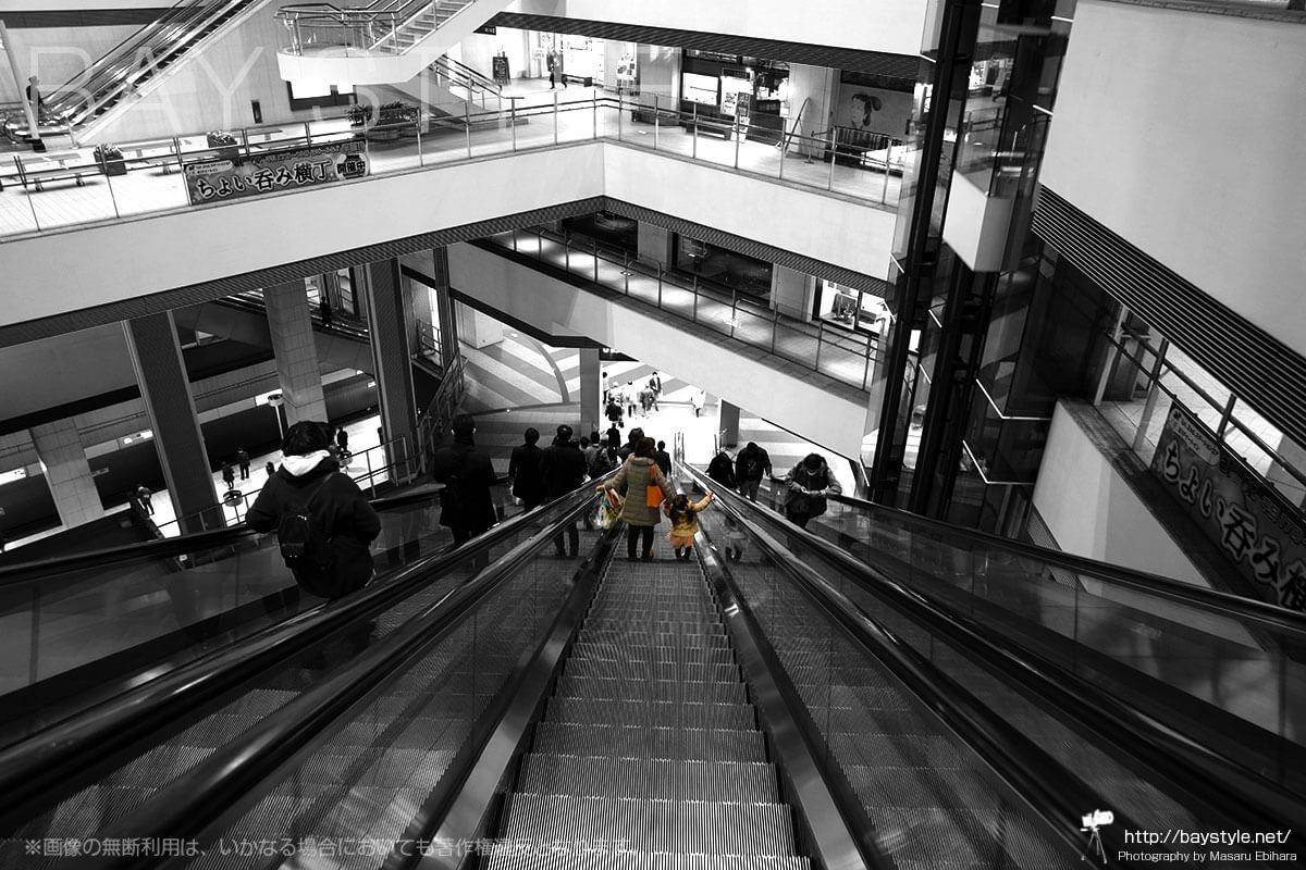 横浜クイーンズスクエアのエスカレーターを利用する親子