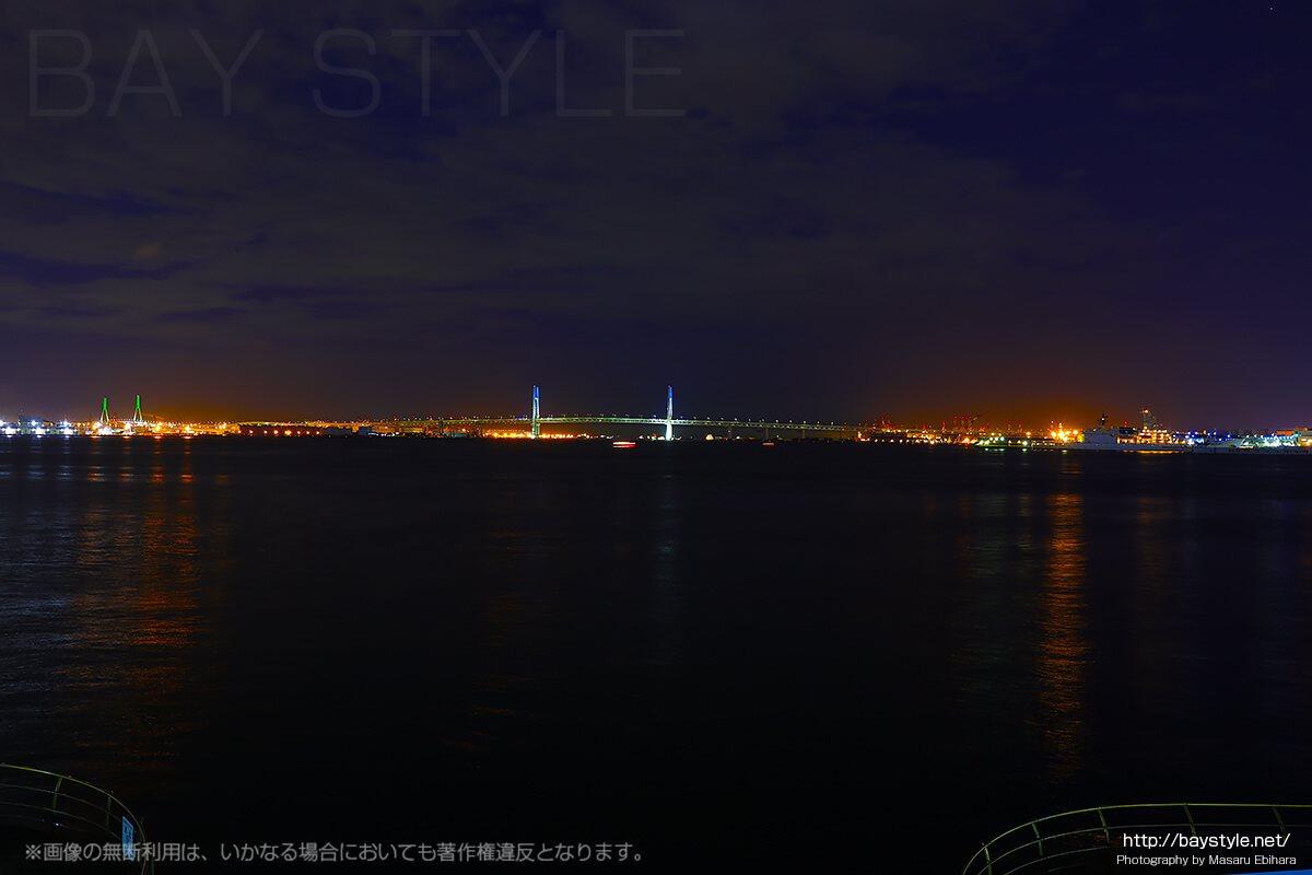 臨港パークから望むベイブリッジ、鶴見大橋の夜景