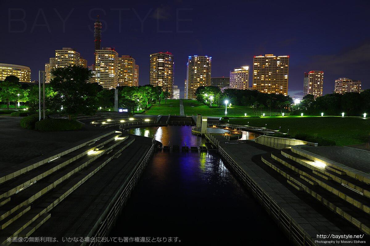 臨港パークから望む超高層マンションの夜景