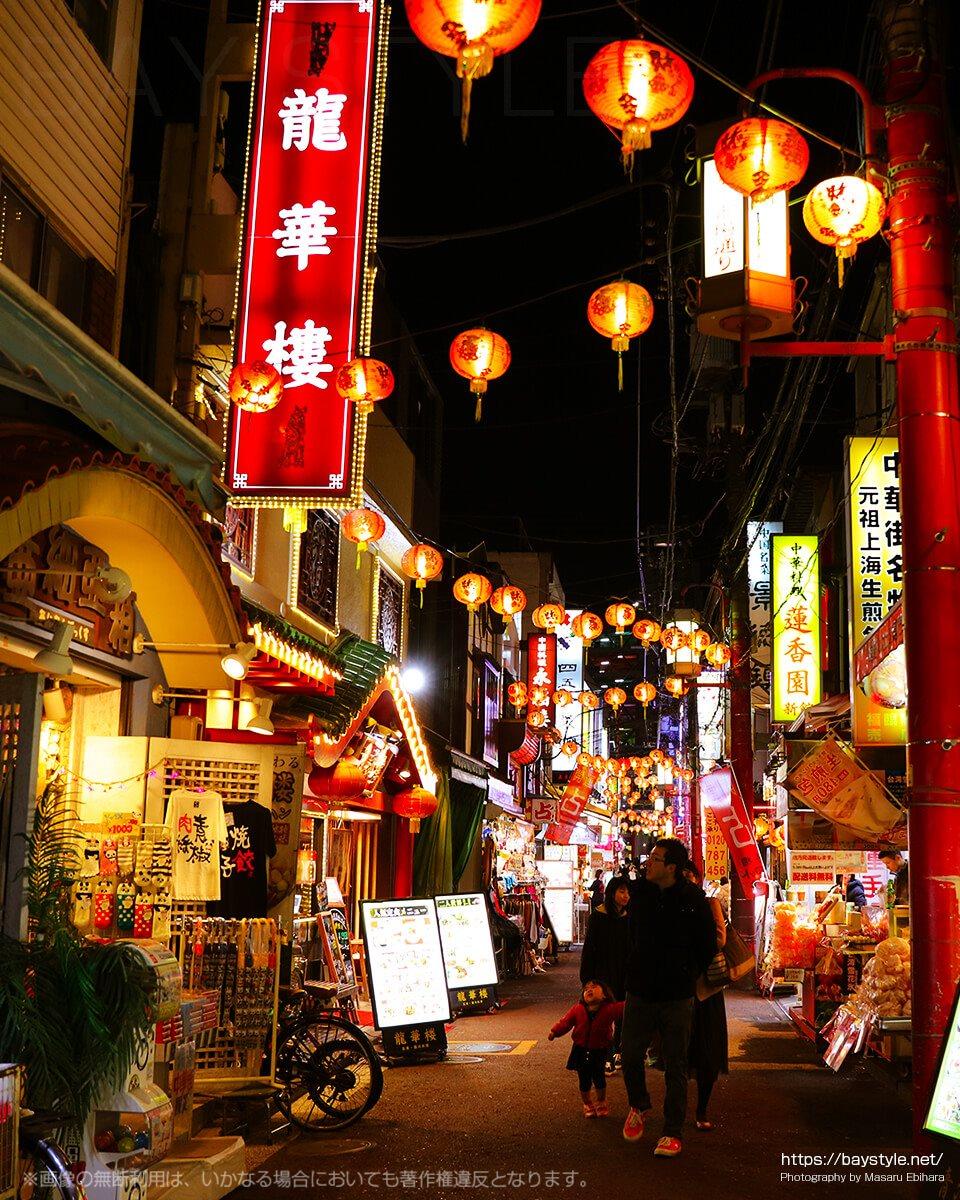 素朴なおもむきがある横浜中華街の夜景