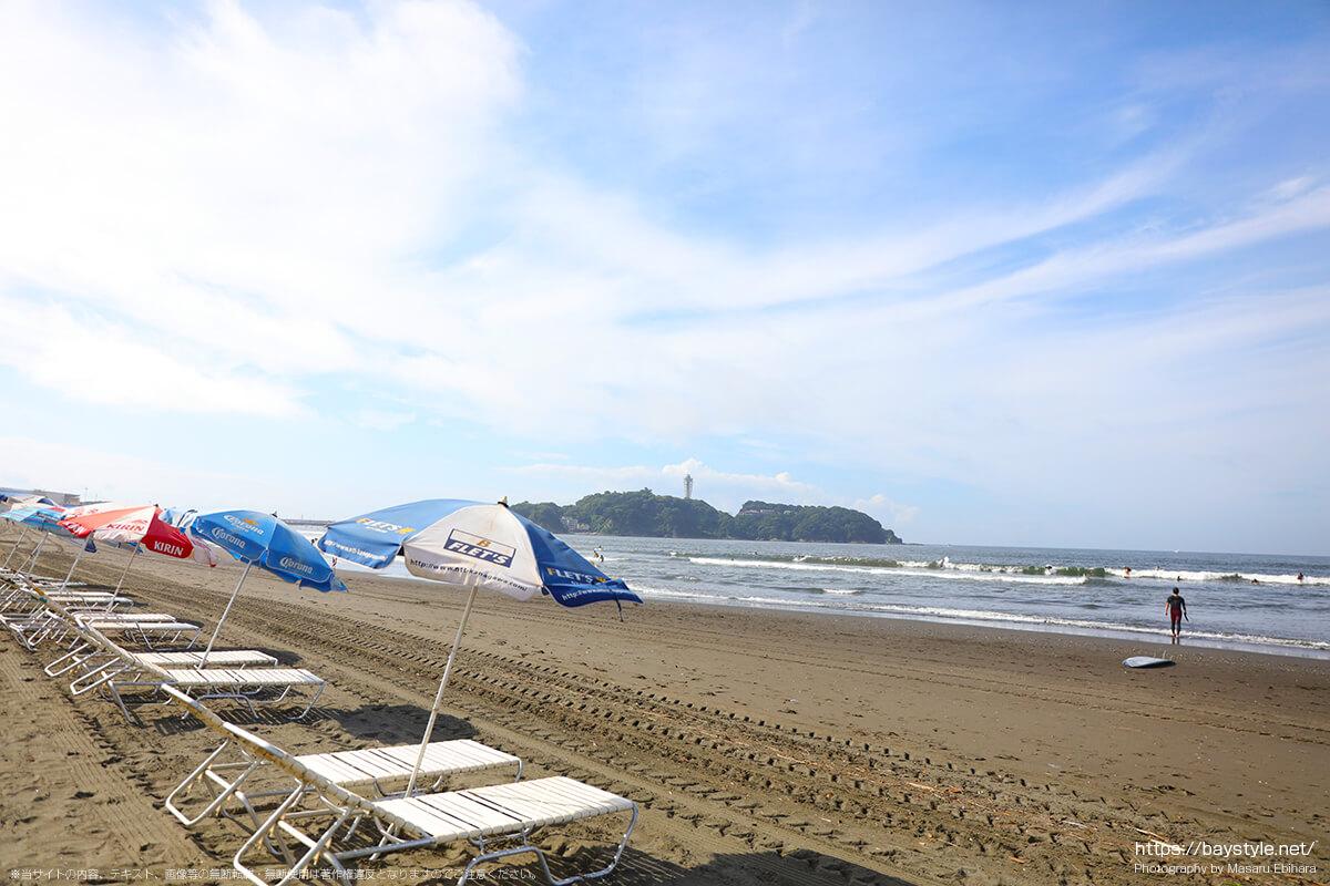 白砂2の前の海岸から、江ノ島方面を眺めた景色