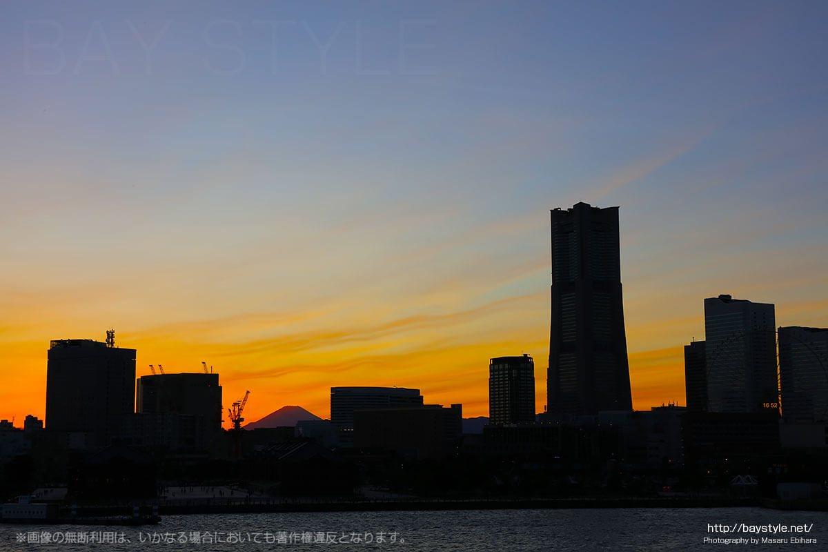 トランスバースラインが発生している富士山上空