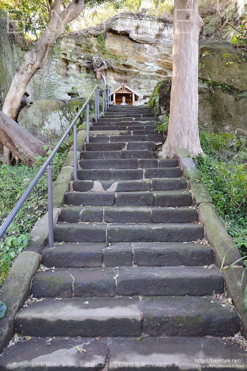 聖勧菩薩像と太子堂へと続く階段