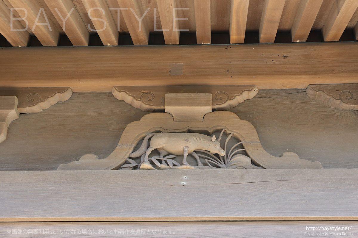 英勝寺の仏殿に彫られている十二支(午「うま」)