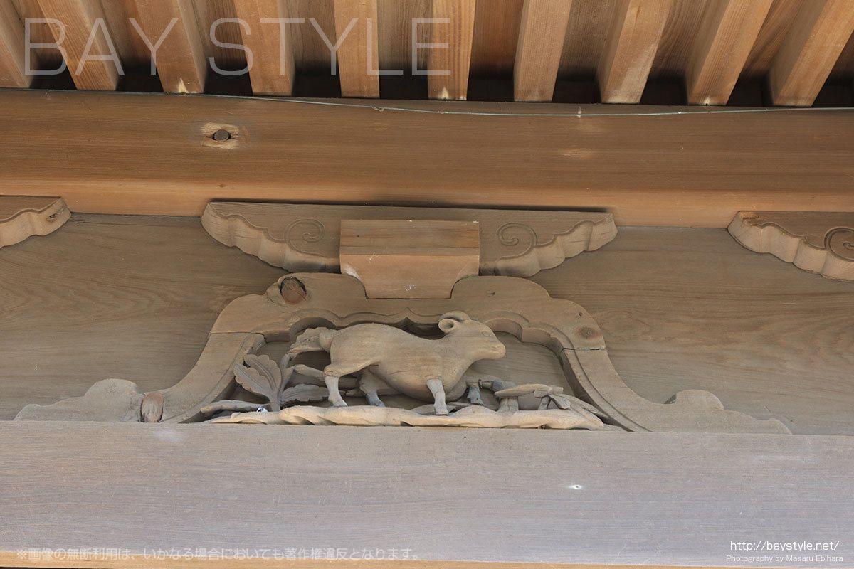 英勝寺の仏殿に彫られている十二支(未「ひつじ」)