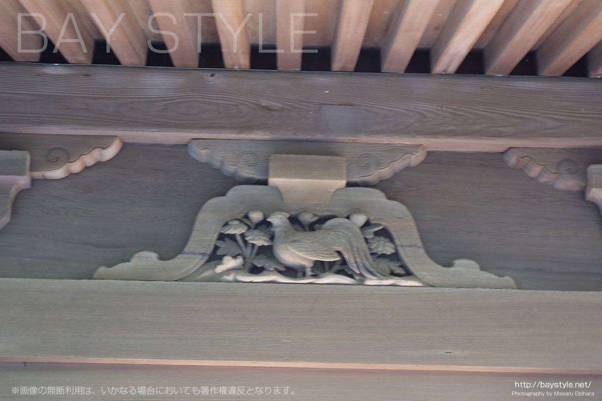 英勝寺の仏殿に彫られている十二支(酉「とり」)
