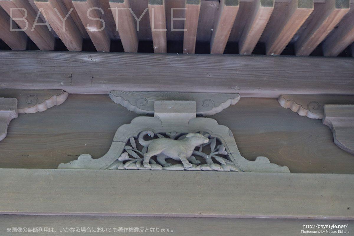 英勝寺の仏殿に彫られている十二支(戌「いぬ」)