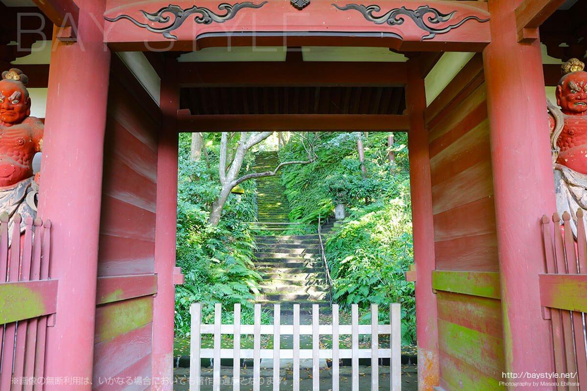 仁王門の先に続く苔階段