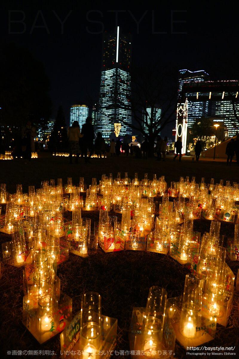 横濱キャンドルカフェと全館ライトアップの夜景