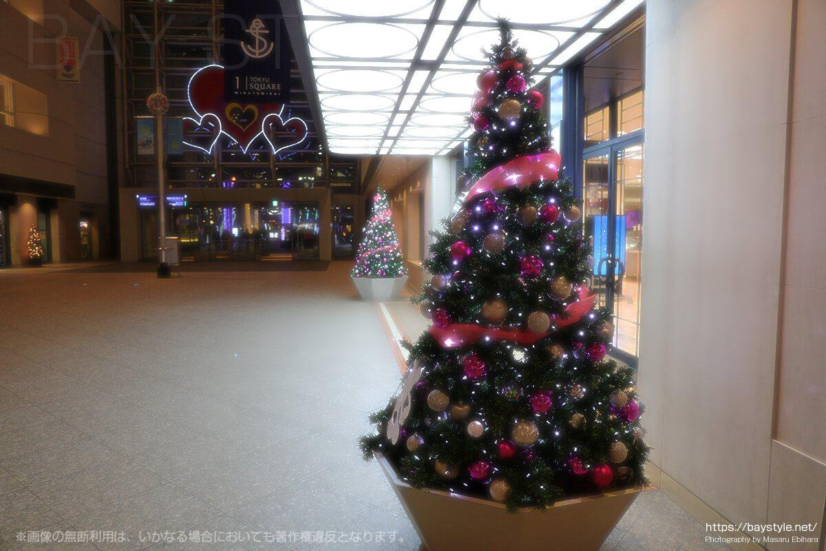 クイーンズスクエアの店舗前に飾られているクリスマスツリー