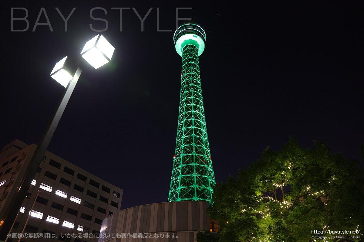 横浜マリンタワーの夜景ライトアップ