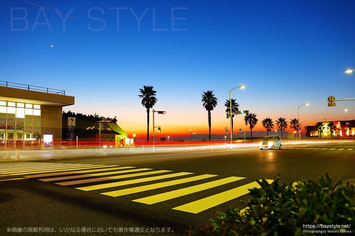 江ノ電駐車センター前で撮影した夕暮れ