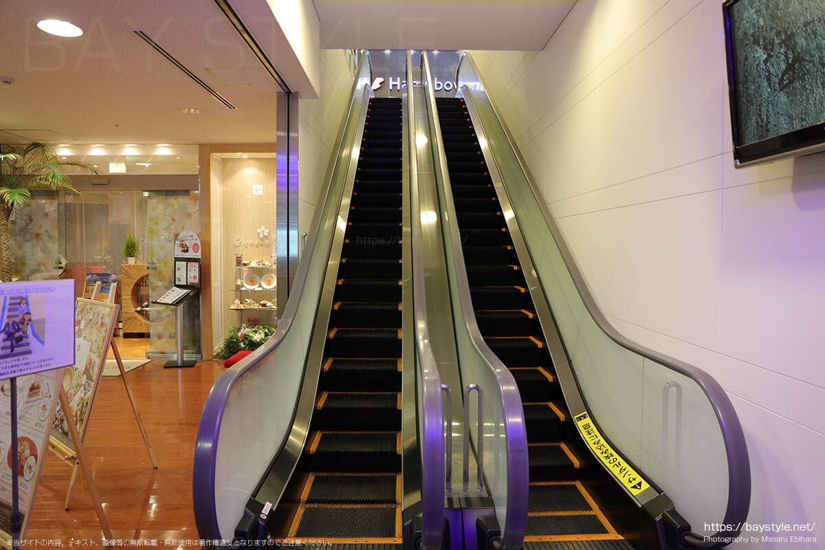 8階へと登る専用のエスカレーター