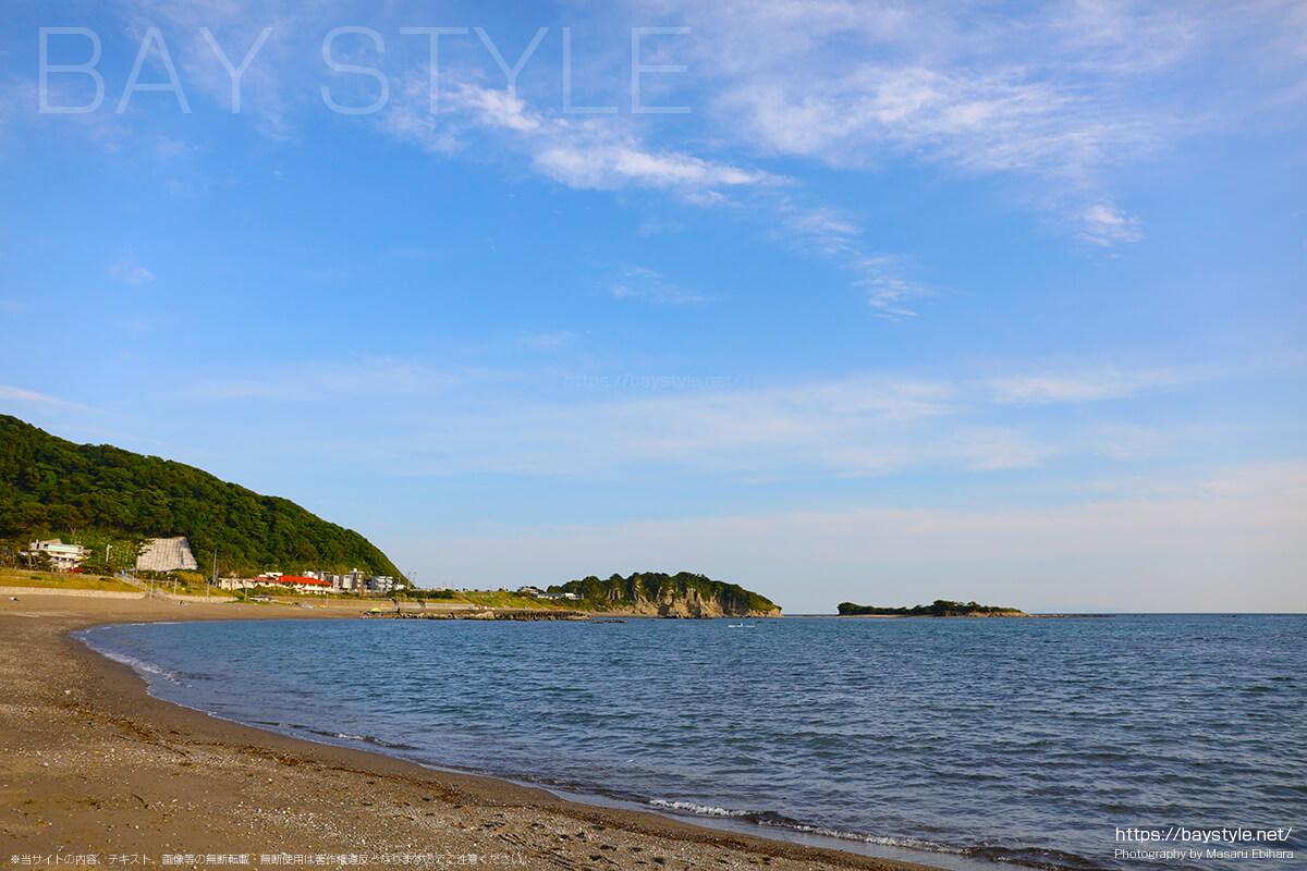 大浜海岸から、長者ヶ崎海水浴場方面を眺めた景色
