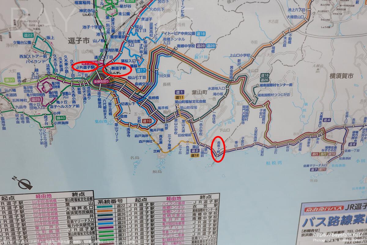 JR逗子駅、京急新逗子駅から長者ヶ崎海水浴場までのルート