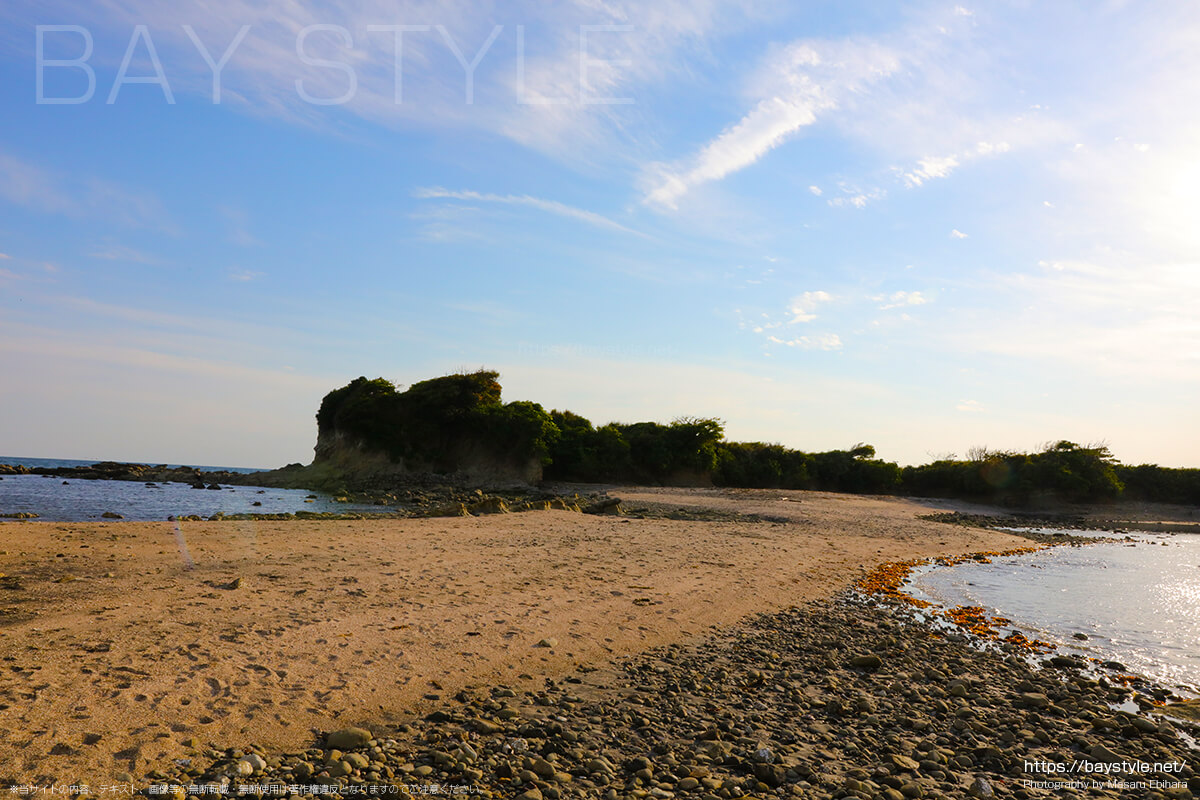 長者ヶ崎海水浴場岬の砂浜