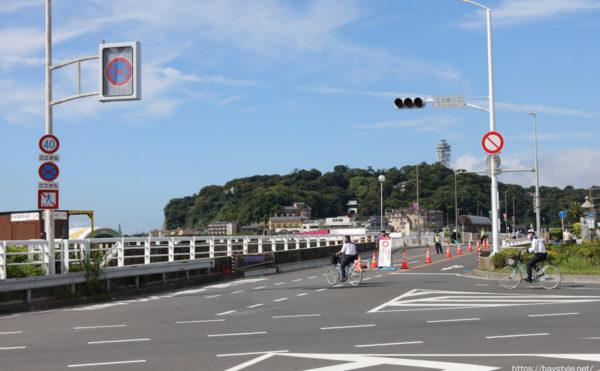 東京オリンピック開催に伴う江の島の交通規制の様子